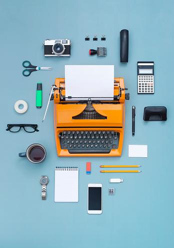 top view eighties typewriter office items cloud