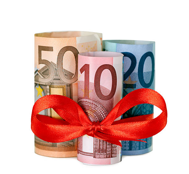 Eighty euro with red ribbon stock photo