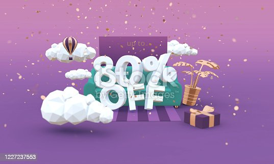 istock 80 Eighty percent off 3D illustration in cartoon style. Clearance, sale, discount concept. 1227237553