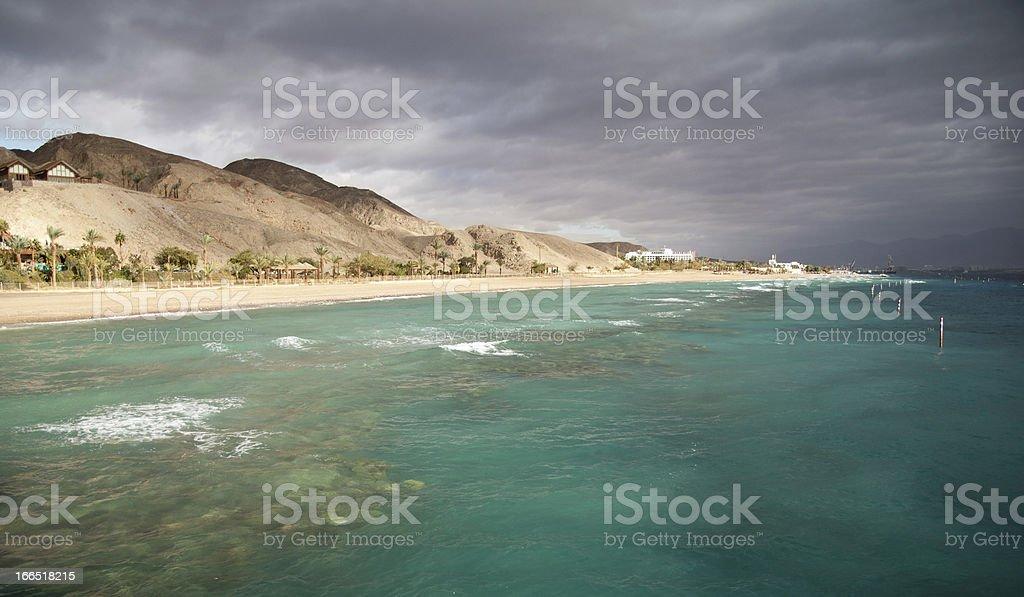 Eilat coastline from the sea royalty-free stock photo