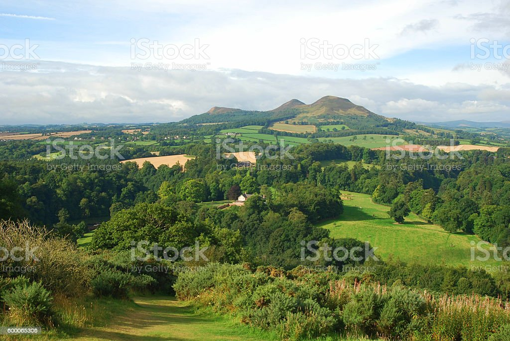 Eildon Hills from Scotts View stock photo