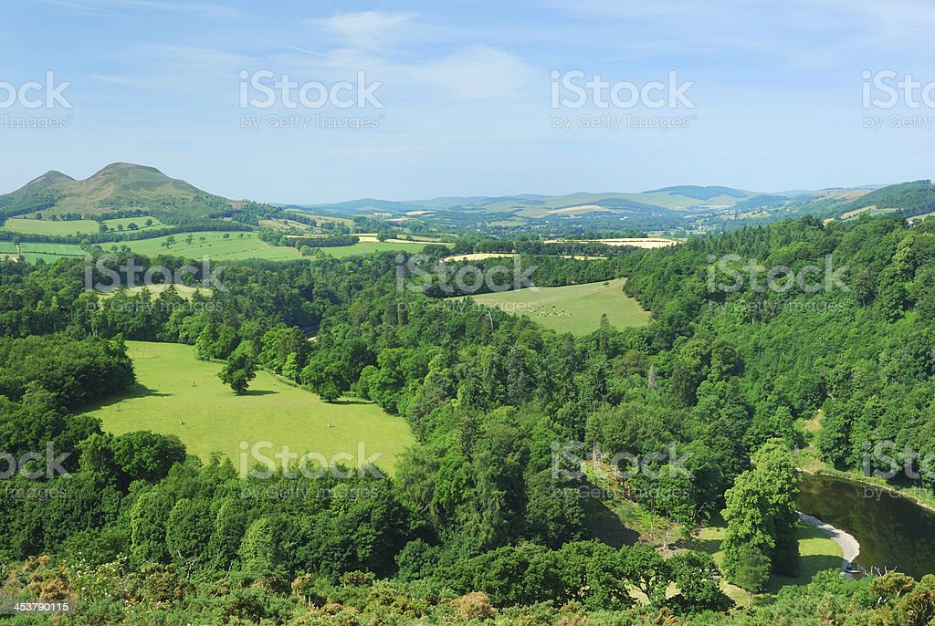 Eildon Hills from Scotts View with river Tweed stock photo