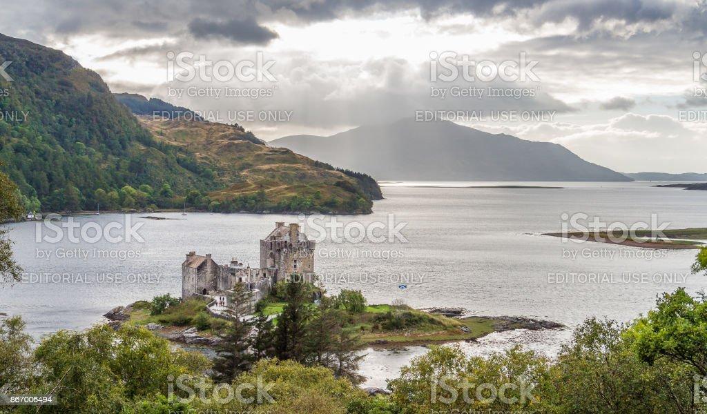 Eilean Donan castle in Skye under a dramatic cloudscape stock photo