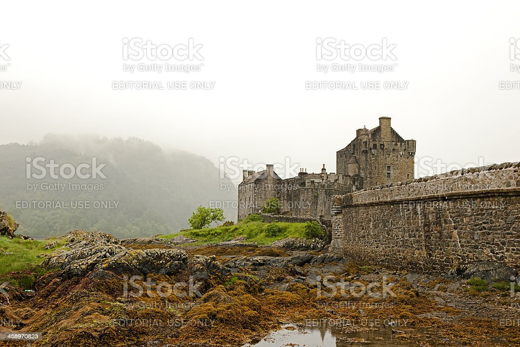 Eilean Donan Castle in the fog royalty-free stock photo