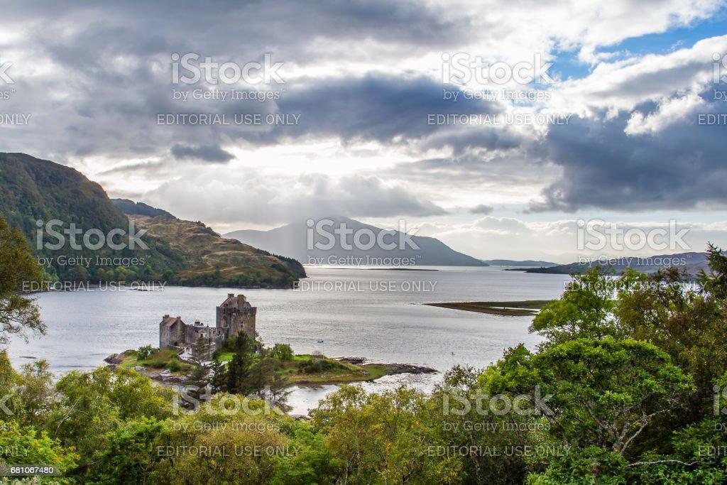 Eilean Donan castle under a dramatic cloudscape stock photo