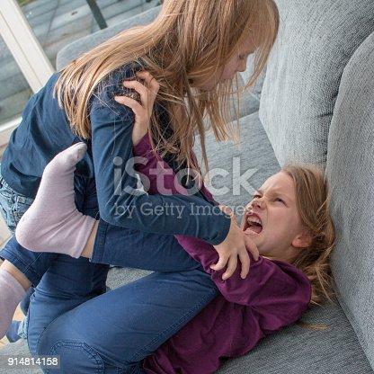 istock Ein 7- und ein 9-jähriges Mädchen schreien sich an und schlagen sich 914814158