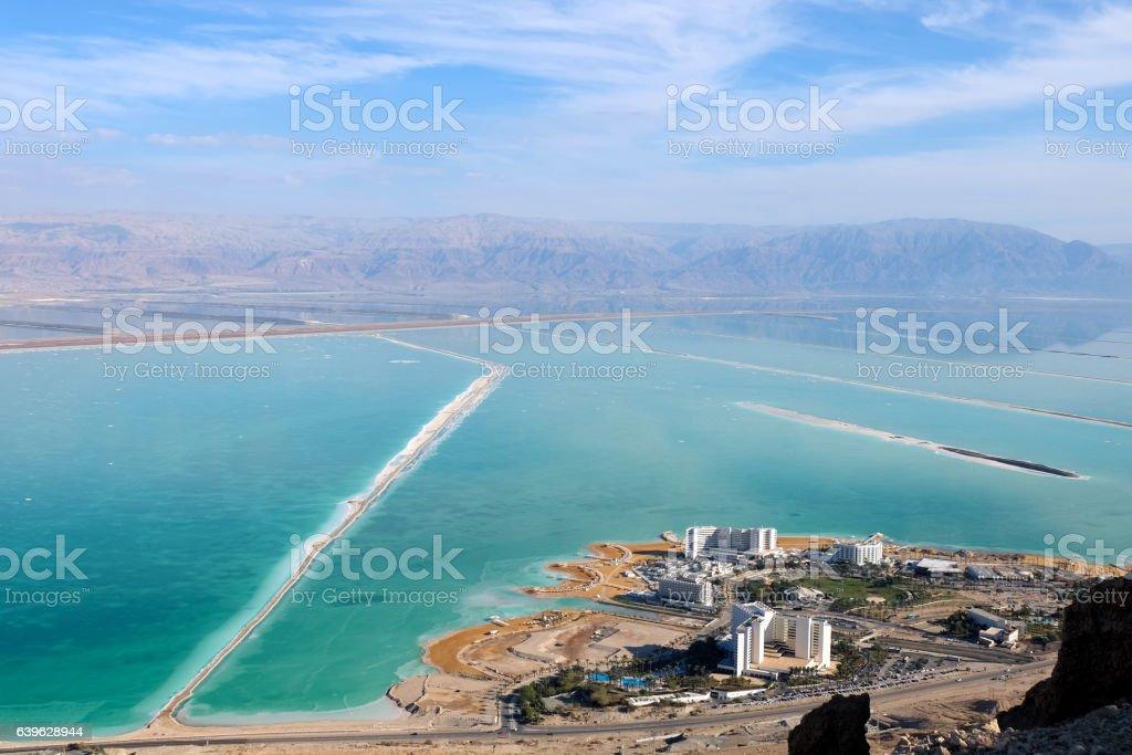 Ein Bokek coast of Dead Sea, Israel. stock photo