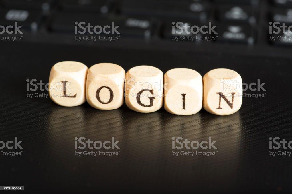 Ein Computer und das Wort Login stock photo