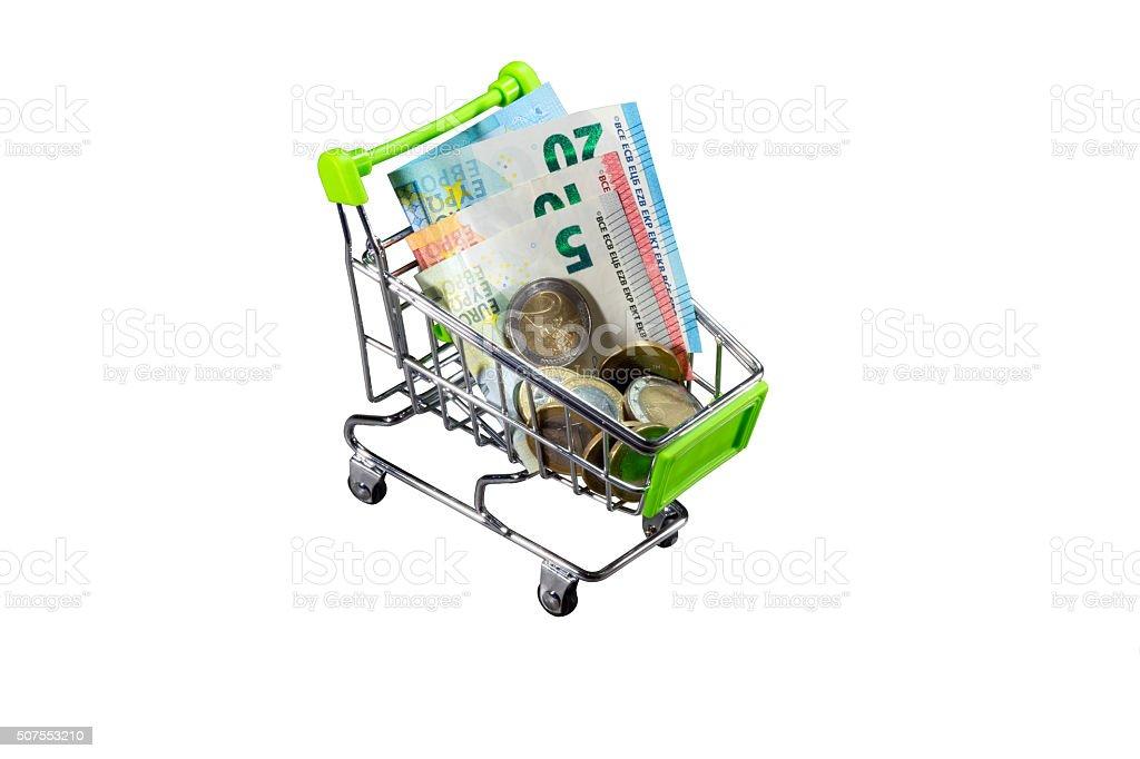 Ein Einkaufswagen mit Bargeld stock photo