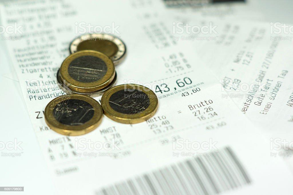 Ein Kassenzettel - Lizenzfrei Beleg Stock-Foto