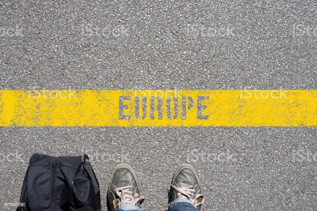 Ein Mann auf der Linie zum Europa stock photo