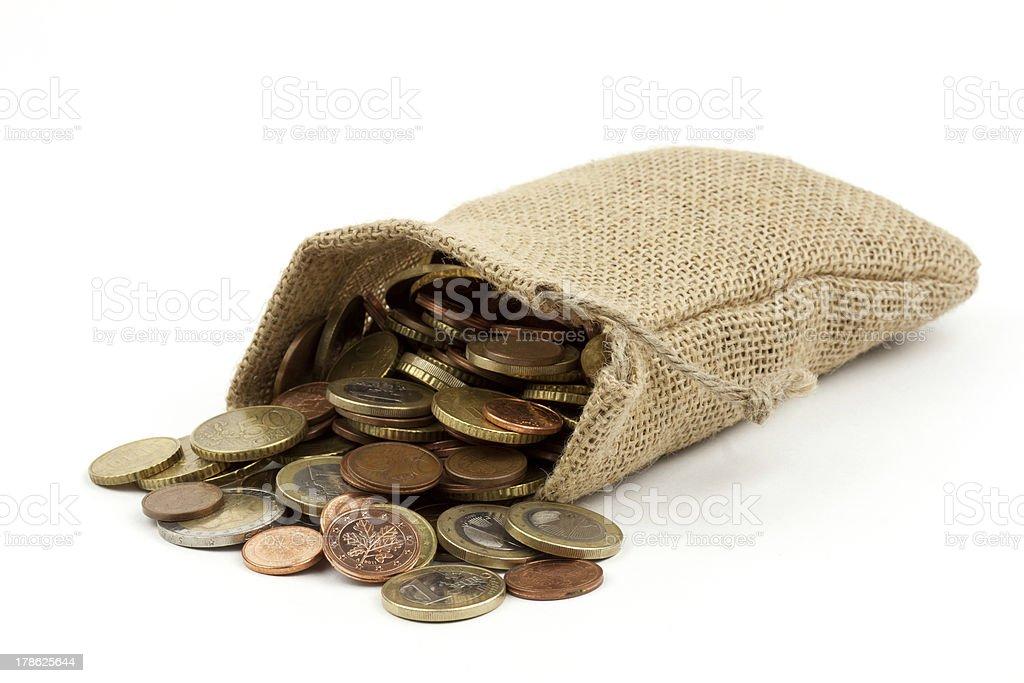 ein sack voller geld - coins stock photo