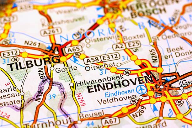 eindhoven area on a map - eindhoven city stockfoto's en -beelden