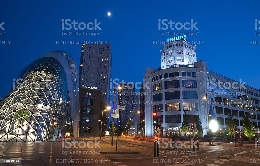 Eindhoven city center during blue hour stock photo