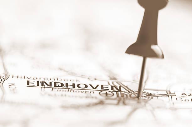 eindhoven city on map, netherlands - eindhoven city stockfoto's en -beelden