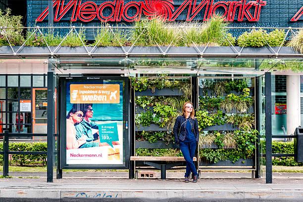 eindhoven green bus stop - eindhoven city stockfoto's en -beelden