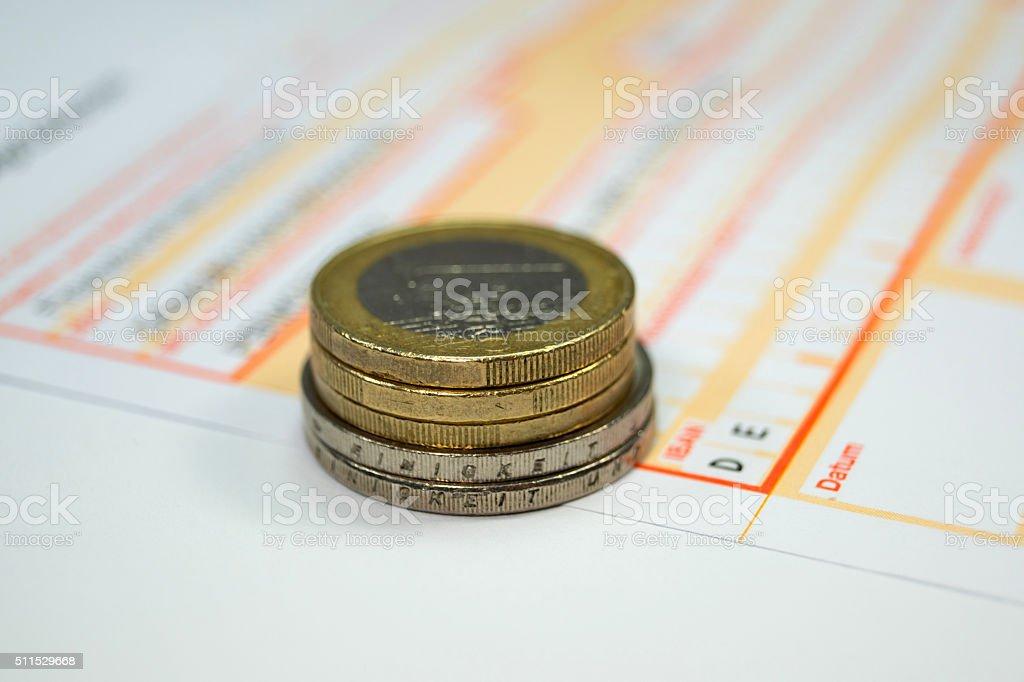 Eine Banküberweisung stock photo