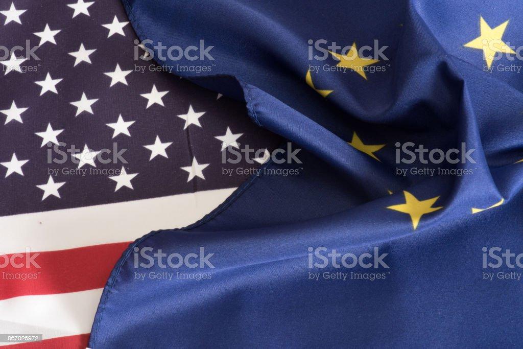 Eine Flagge von Amerika Und EU – Foto