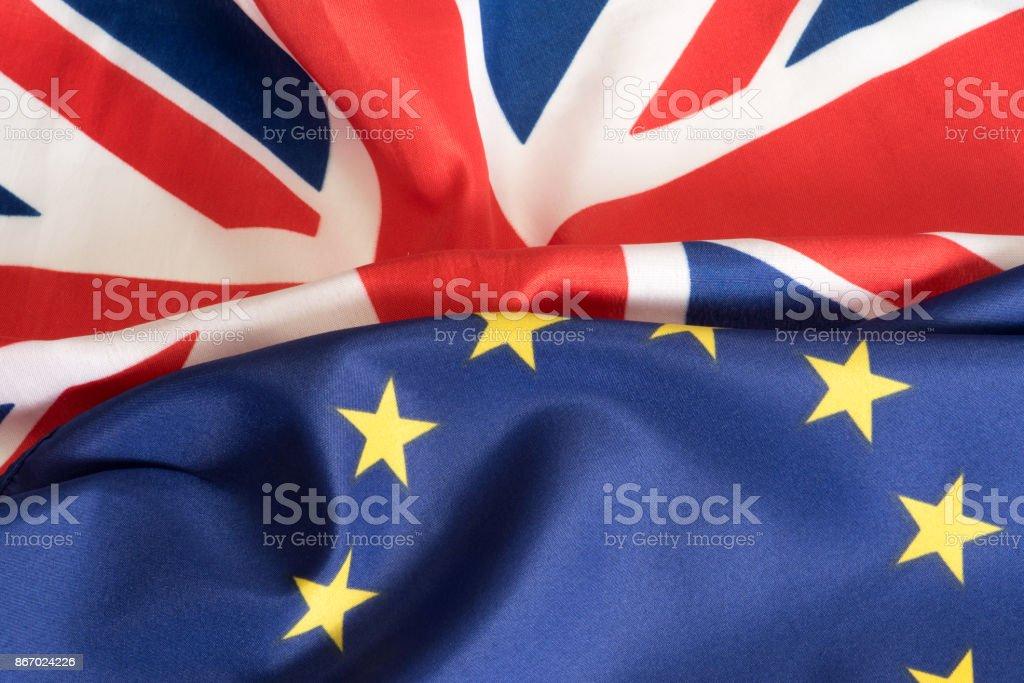 Eine Flagge von EU und Grossbritannien stock photo
