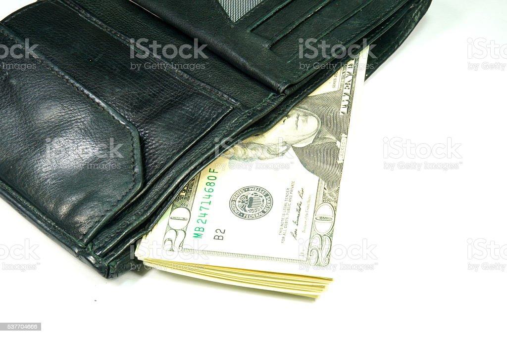 Eine Geldbörse und Dollars stock photo