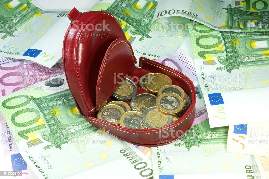 Eine Geldbörse und Geldscheine stock photo