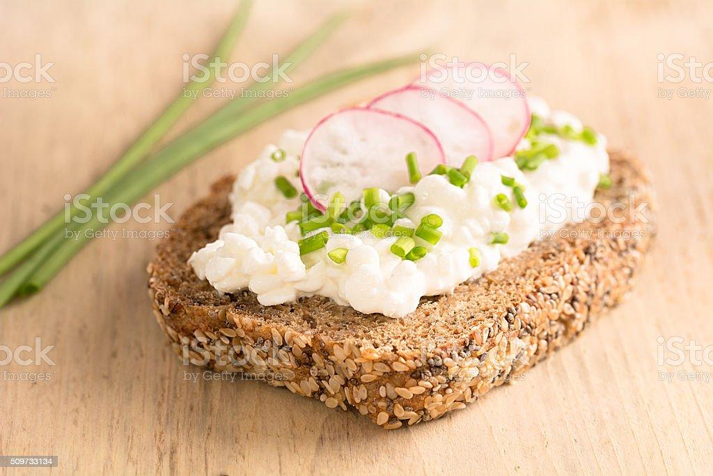 Eine Scheibe Brot belegt mit körnigem Frischkäse stock photo