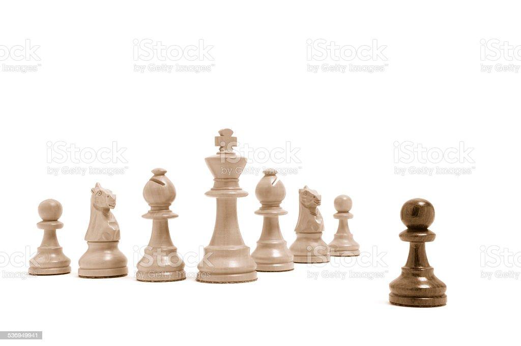 Einer gegen alle - Alle gegen einen - Schachfiguren 2 stock photo