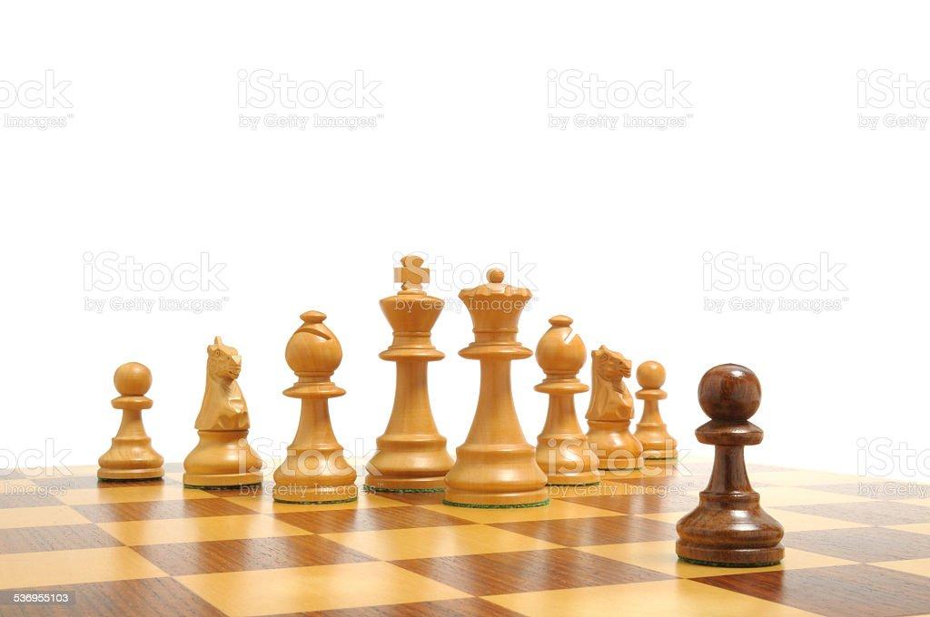 Einer gegen alle - Alle gegen einen - Schachfiguren 3 stock photo