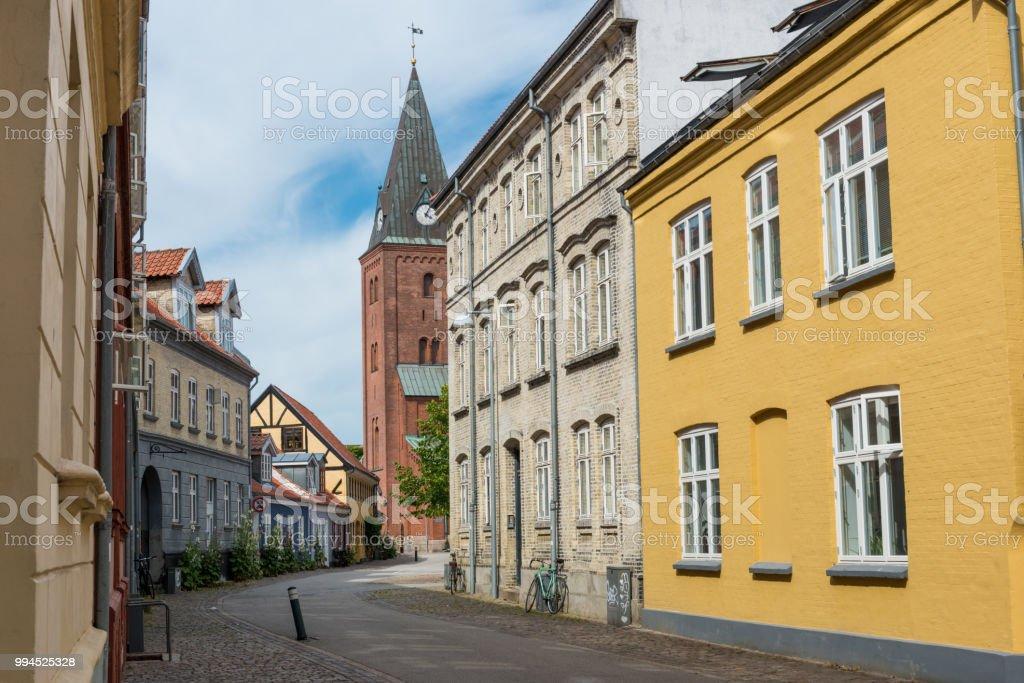 Einsame Strasse in Aalborg stock photo