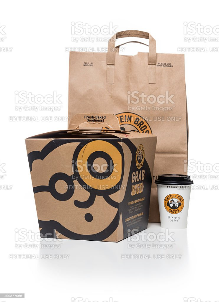 Einstein Bros bagels Grab & Go box cup and bag stock photo