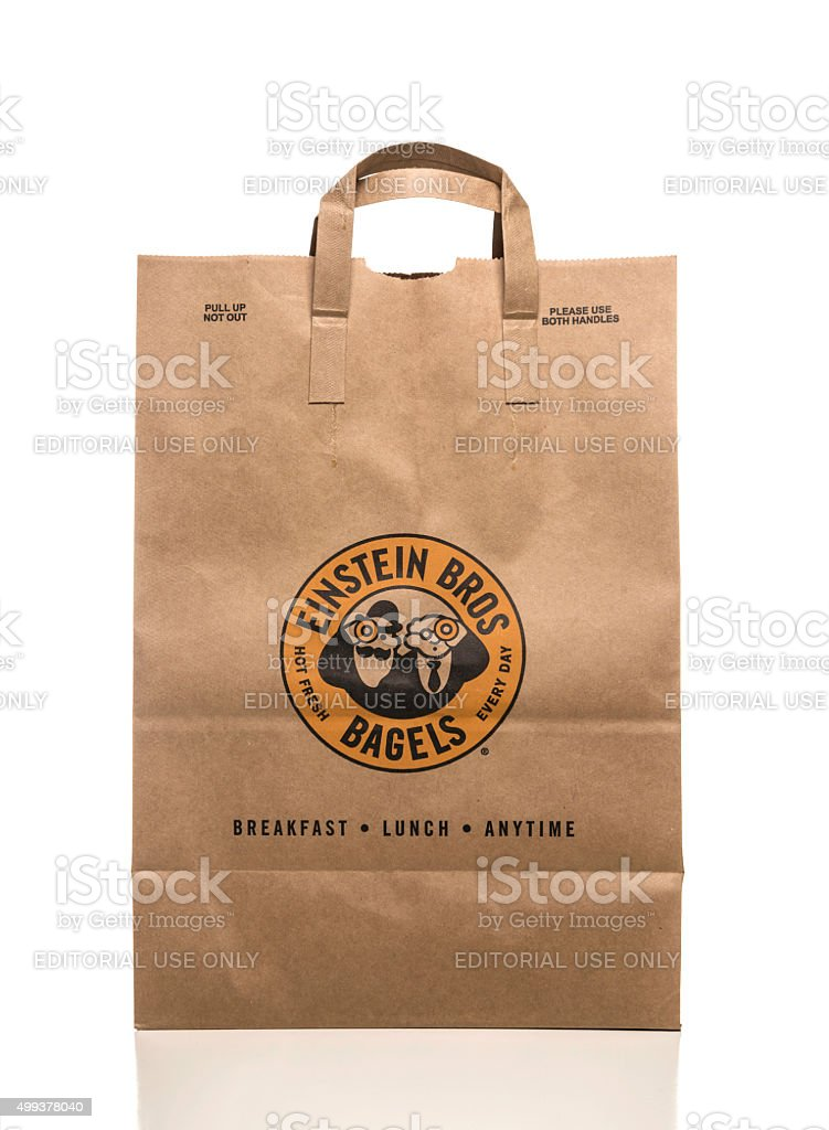 Einstein Bros bagels paper take out bag stock photo