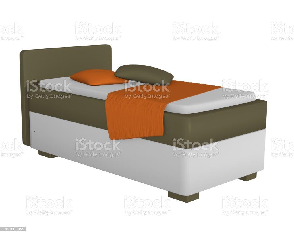 Einzelbett in Olivgrün - Weiß, Mit Dekorationen Auf Weiß Isoliert aus Seitenansicht. – Foto