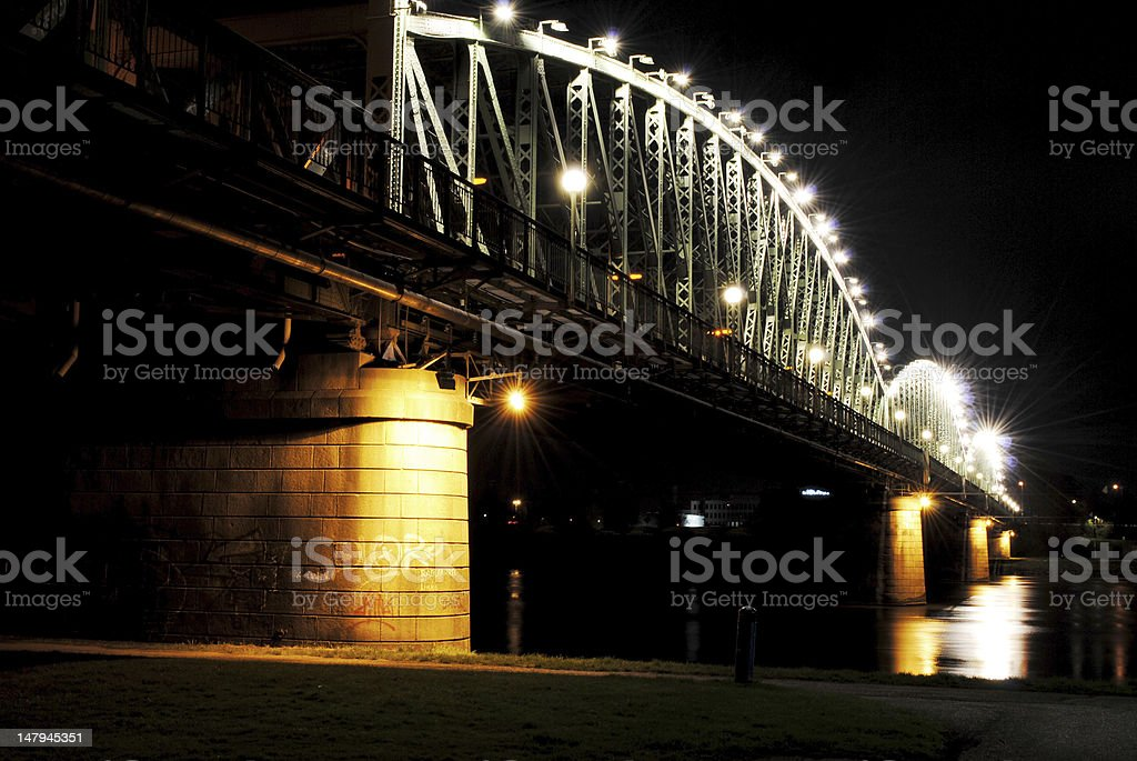 Eisenbahnbrücke Linz at Night royalty-free stock photo