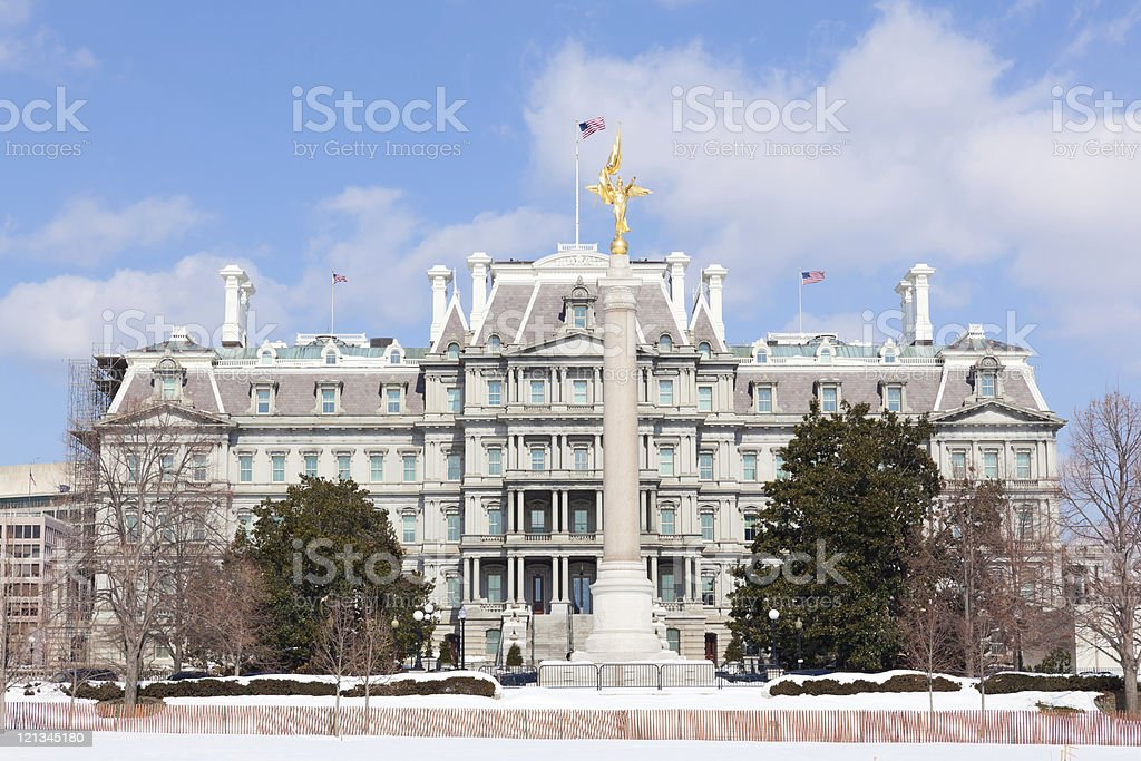 Eisenhower Executive Office Building with First Division Monument stock photo