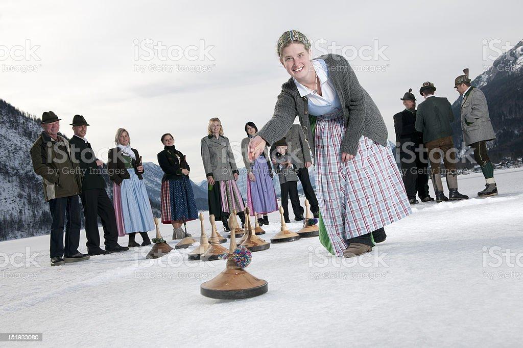 Eisstockschiessen, Curling on the Lake Grundlsee (XXXL) royalty-free stock photo