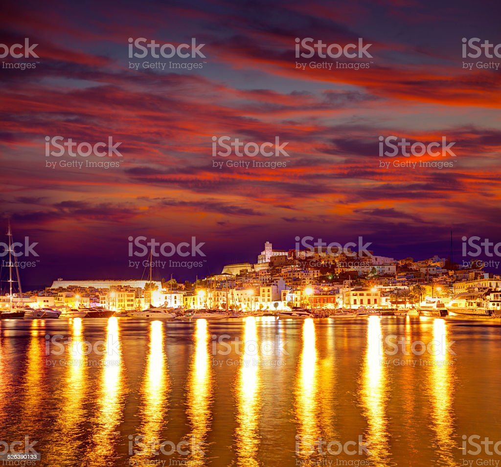 Eivissa Ibiza town downtown at sunset in Balearic stock photo