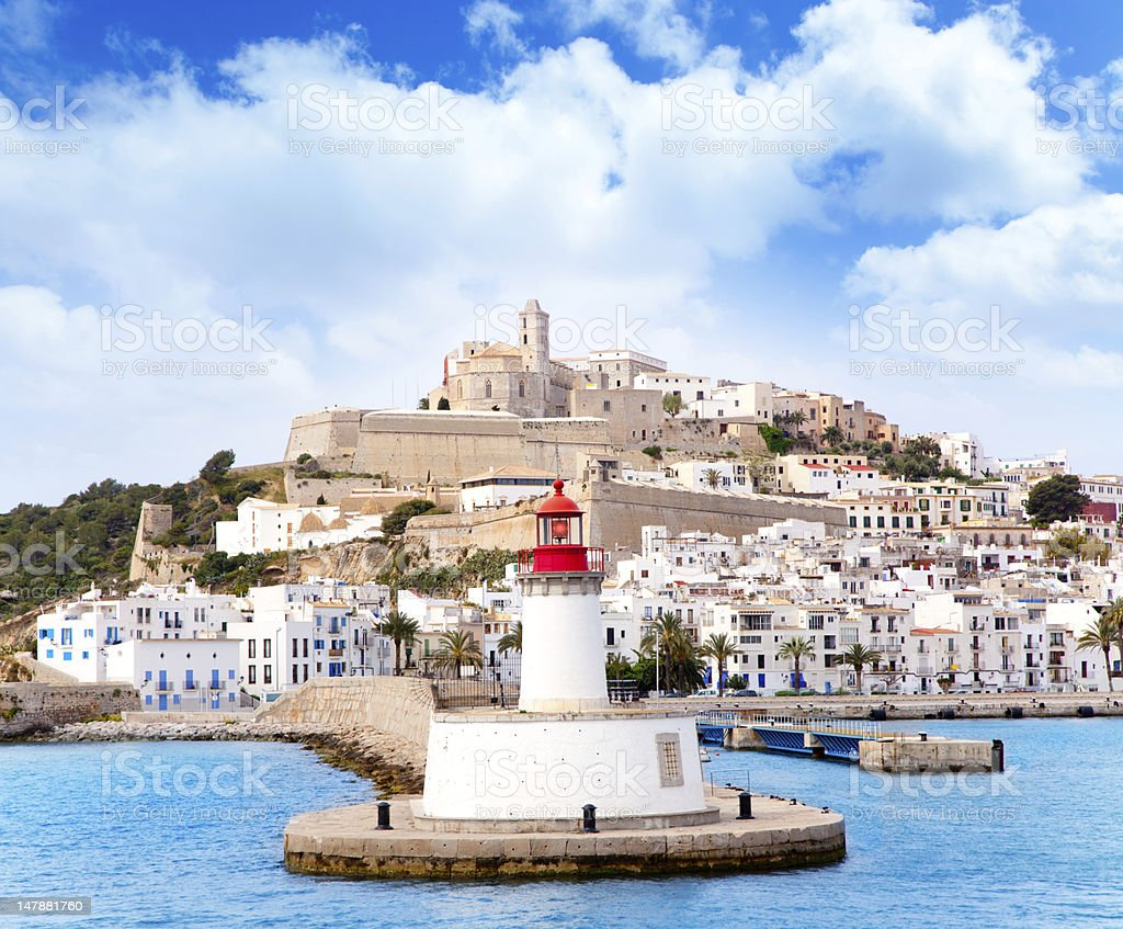 Eivissa ibiza town from red lighthouse port entrance beacon stock photo