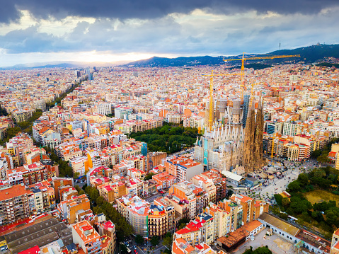 Eixample District Sagrada Familia Barcelona Stock Photo - Download Image Now