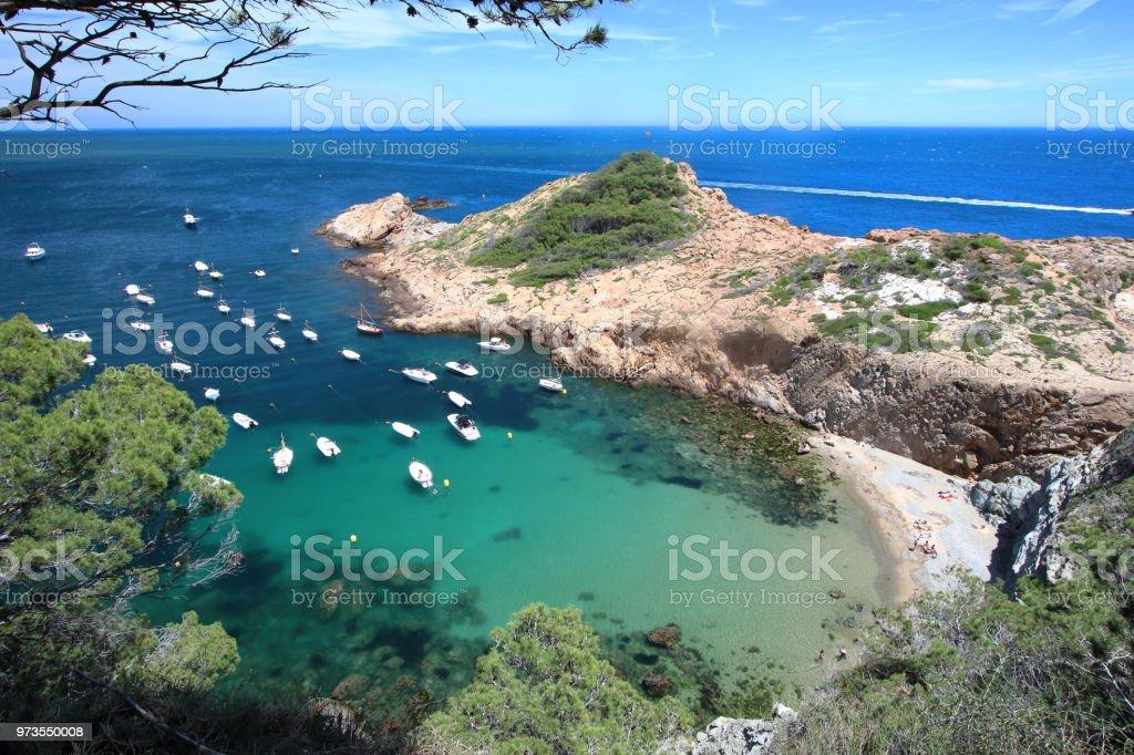 S'Eixugador pequeña playa cerca de pueblo bonito y la playa de Sa Tuna - foto de stock