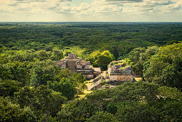 Ek Balan Mayan Archeological Site. Maya Ruins, Yucatan Peninsula stock photo