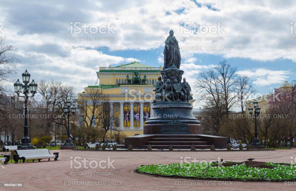 Ekaterininsky Garden, Monument to Catherine II, Alexandrinsky Theater, St. Petersburg, Russia stock photo