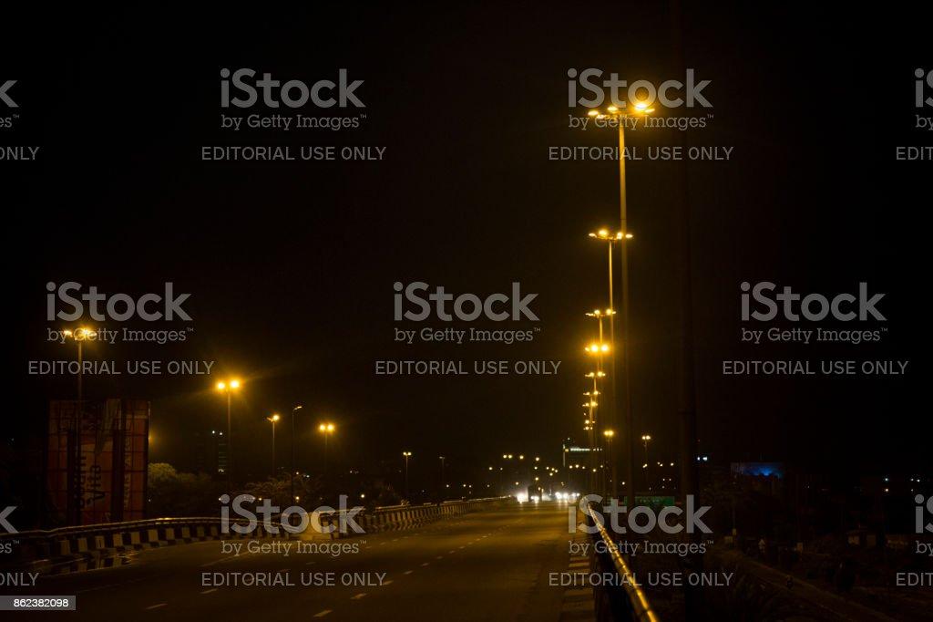 Eko Bridge at Night stock photo