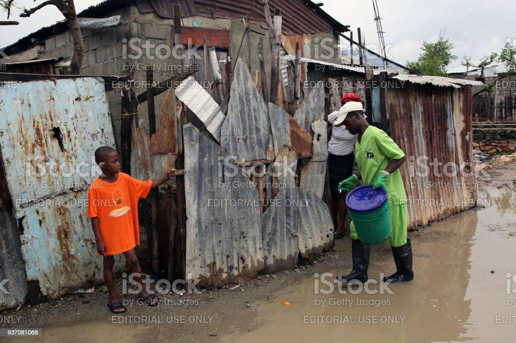 SOIL EkoLakay Ecosan Toilet Service, Cap Haitien, Aviasyon Neighborhood stock photo
