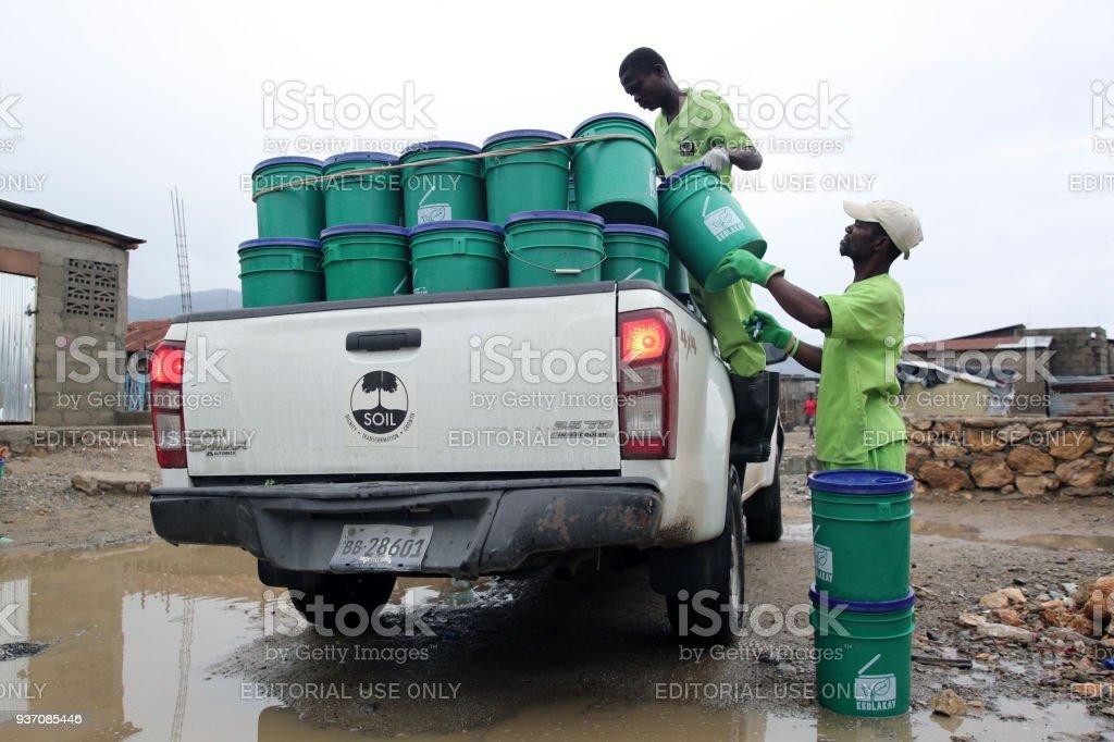 SOIL EkoLakay Ecosan Toilet Service, Cap Haitien, Aviasyon Neighborhoodv stock photo