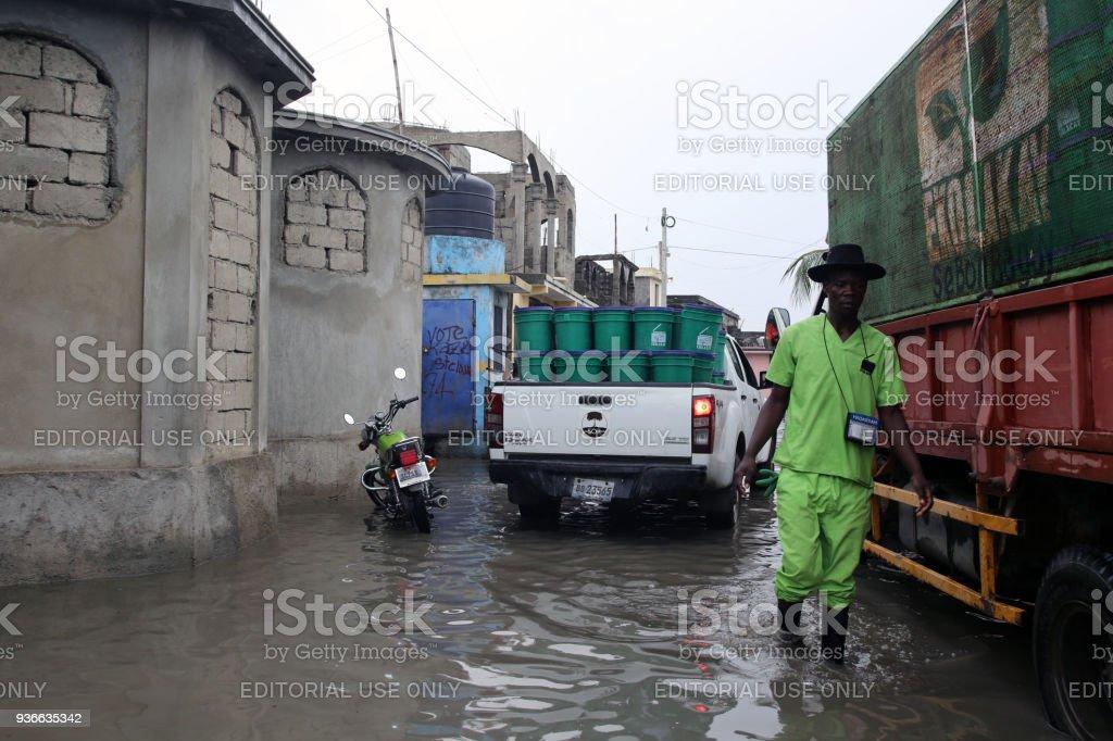 SOIL EkoLakay EcosanToilet Service, Cap Haitien, Aviasyon Neighborhood stock photo