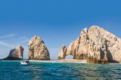 El Arco, at Land's End, Cabo San Lucas. Giant rocky outcrops featuring a natural arch, are one of the most famous natural attractions of Mexico.