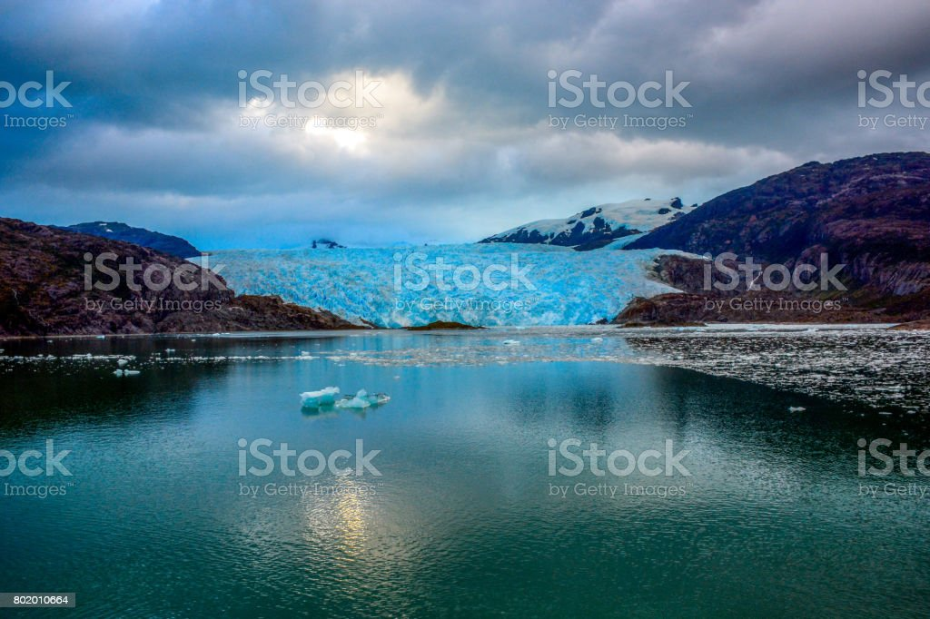 El Brujo Glacier in Asia Fjord, Southern Patagonia Icefield, Chile, South America. stock photo