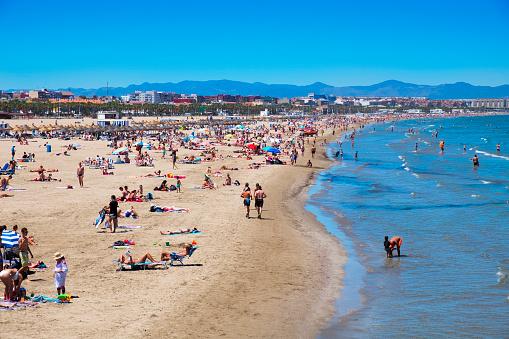 El Cabanyal and La Malvarrosa beaches in Valencia, Spain