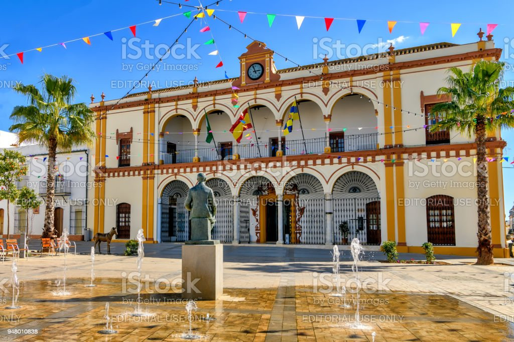 El Cabildo square and town hall building in old town Moguer, Andalusia, Spain. stock photo