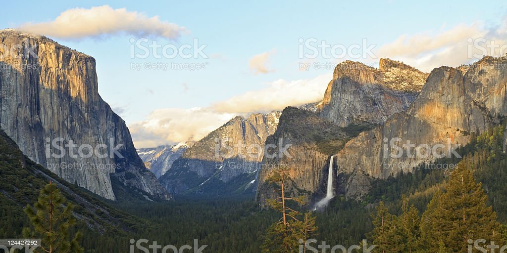 El Capitan and Bridalveil Falls royalty-free stock photo